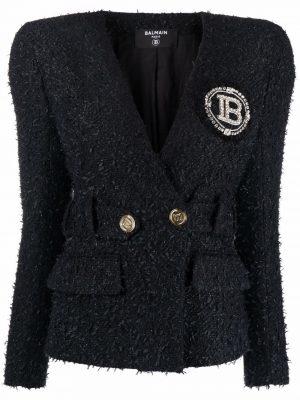 Balmain 21FW WF0SI150CA00 0PA Collarless Tweed Jacket Black