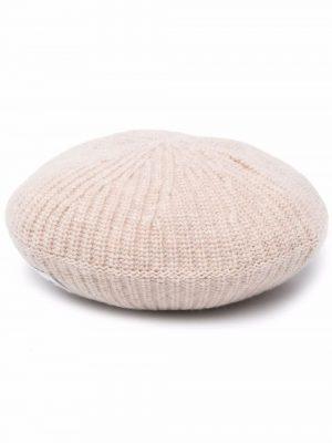 GANNI rib-knit logo-patch beret