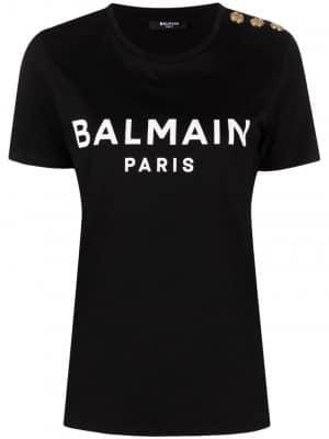 Balmain button-detail logo-print T-shirt black
