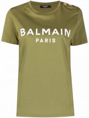 Balmain button-detail logo-print T-shirt green