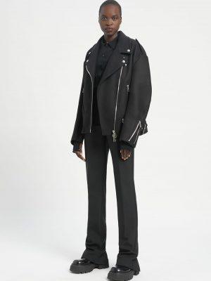 Sportmax ASTI felted cloth biker jacket